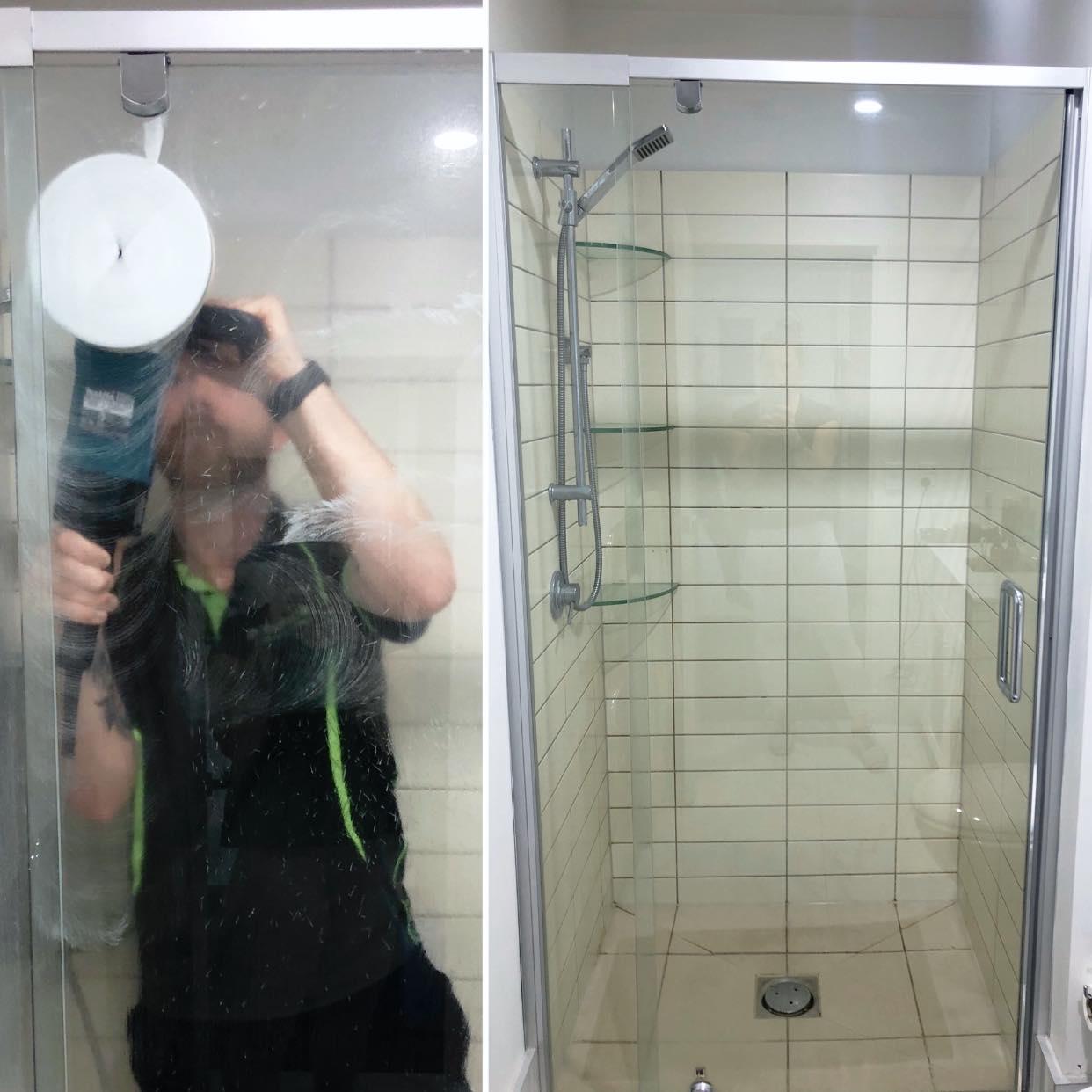 Daniel cleaning shower glass